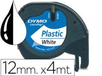 Cinta titoladora 12mmx4m Blanc Tag Dymo 91201