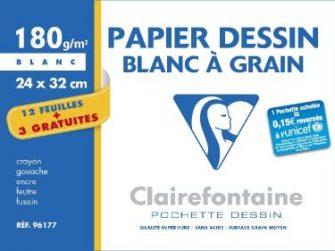 Paper dibuix blanc 24x32 180g Clairefontaine -p 12+3-