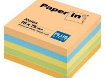 Notes adhesives 5 colors pastel 300 fulls 75x75 Paper-in Plus
