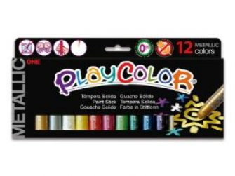 Tempera solida 12 colors 10g Playcolor One metallic 10121
