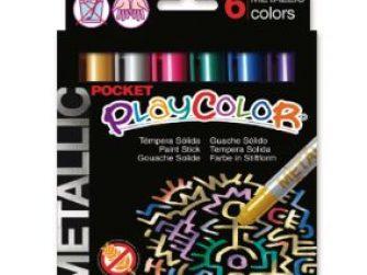 Tempera solida 6 colors 5g Playcolor Pocket metallic 10351