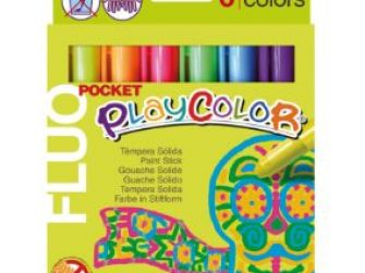 Tempera solida 6 colors 5g Playcolor Pocket Fluo 10421