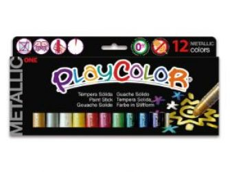 Tempera solida 12 colors 5g Playcolor Pocket metallic 10131