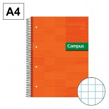 Llibreta espiral A4 80 fulls 90g 5mm 5 colors TD taronja Campus 2300