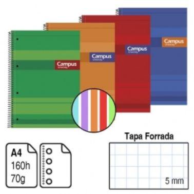 Llibreta espiral A4 160 fulls 70g ratlla hz 5 colors TD Campus 1171