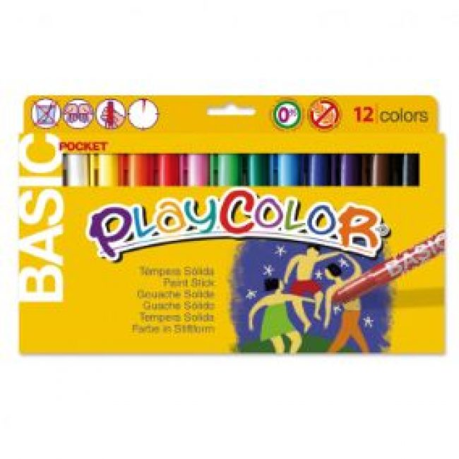 Tempera solida 12 colors 5g Playcolor Pocket 10521