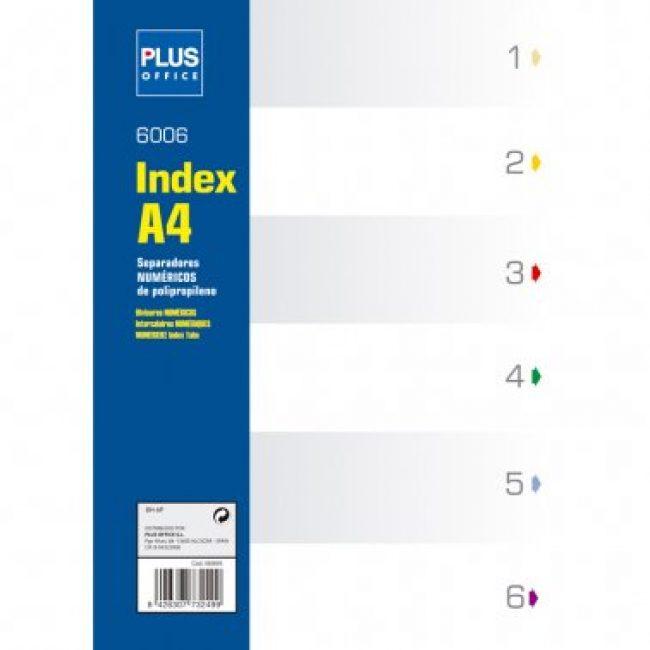 Separador plàstic númeric 1-6 A4 Plus