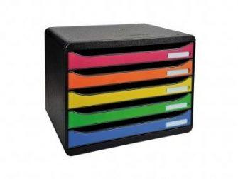 Mòdul 5 calaixos A4 apaisat negre/colors Exacompta 308798D