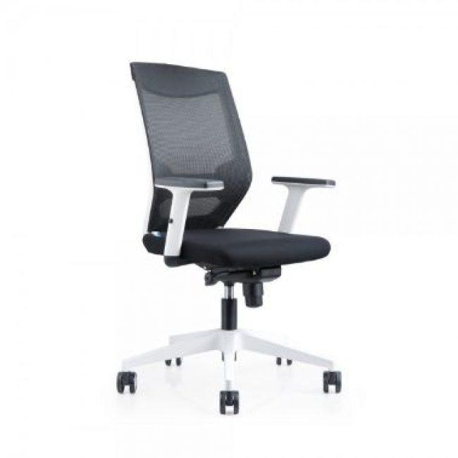 Cadira rodes amb braços negre estructura blanca Rocada RD-908W-4