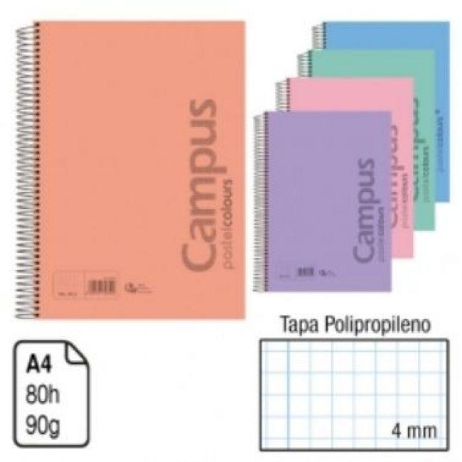 Llibreta espiral A4 80 fulls 90g 4mm TP pastel Campus 2834