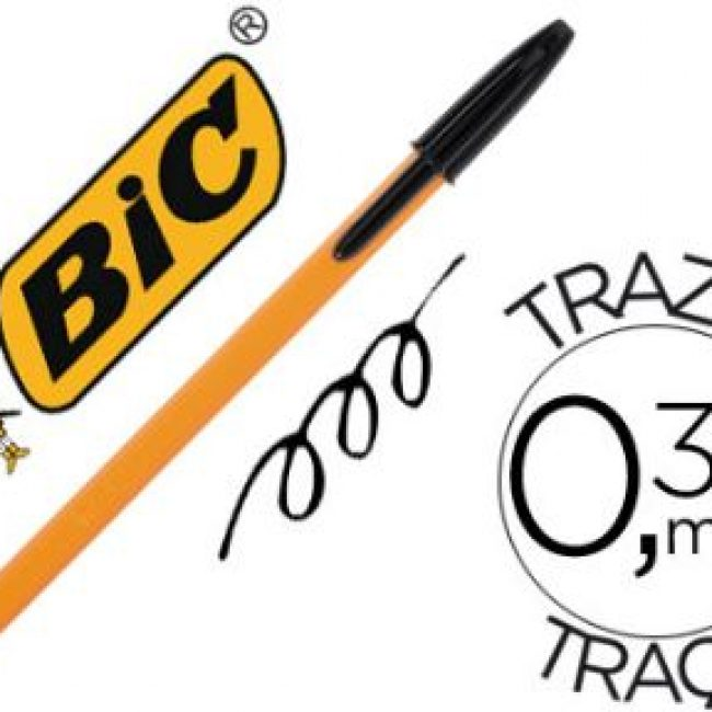Bolígraf orange color negre Bic