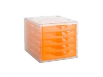 Mòdul 5 calaixos translucid frontal mandarina Archivo 2000