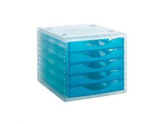 Mòdul 5 calaixos translucid frontal blau mar Archivo 2000