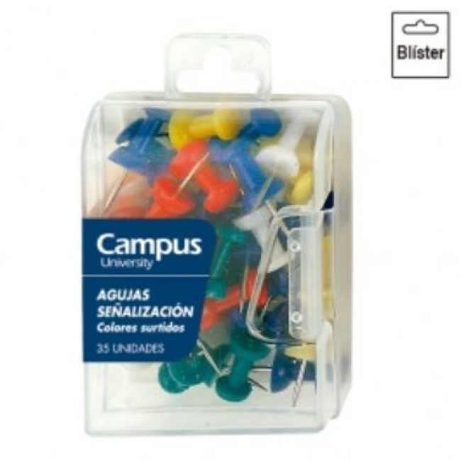 Xinxeta per planos colors assortits Campus 40199 -caixa 35-