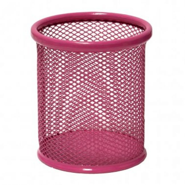 Portallapis metàl·lic perforat rosa Plus 190