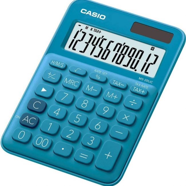 Calculadora 12 digits Casio MS-20UC-BU blava