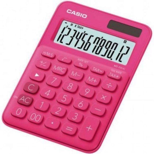 Calculadora 10 digits € Casio MS-20UC-RD fucsia