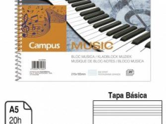 Llibreta espiral A5 apaisat 20f Musica pentagrama gran Campus