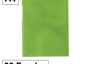 Carpeta 30 fundes fixes A4 verd translúcid Plus 180678