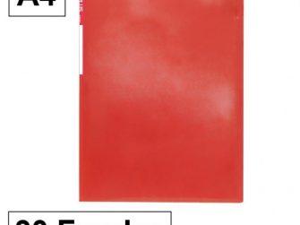Carpeta 30 fundes fixes A4 vermell translúcid Plus 180863