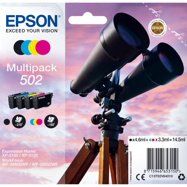 Cartutx tinta original Epson 502 4 colors C13T02V64010